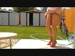 Lisa in stockings and heels