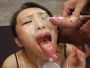 Long Tongue Seductive japanese Bukkake