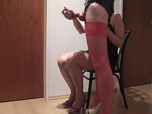 handjob in pinky nylons