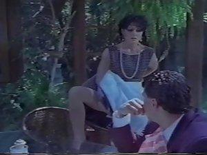 Jeanna Good strips to Sheer light beige Pantyhose !