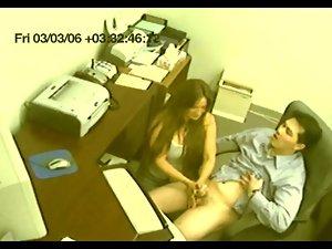 artificial voyeur secretary gives tugjob CFNM