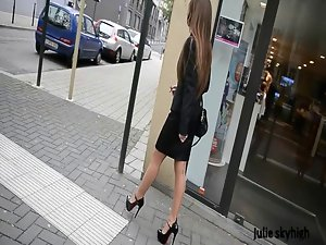 Slutty cumlover Secretary walking in high heels in public