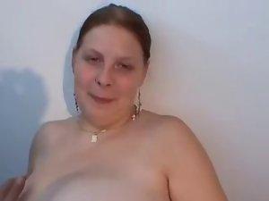 plump lassie with mega big melons in masturbating act