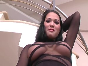 Glamour lady banging in thigh high nylon and heels