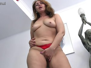 Filthy married woman Mama getting dripping by her toy