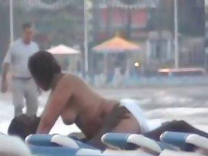 Beach fuck with specatators