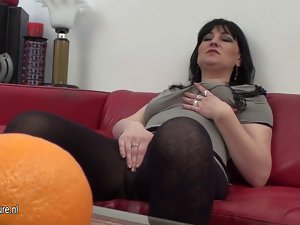 Perfect aged slutty mom masturbating on a couch