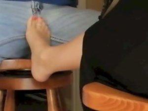 Heel slid off, nylon foot to crotch