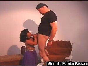 Man screws whorish midget Filthy bitch