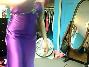 Luscious Luscious teen Showing Off Her Purple Satin Prom Dress