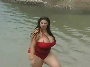 A Lewd Cute bbw Slutty girl With Huge Knockers In The Sea