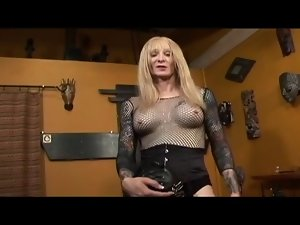 Shemale Mistress Dominates Transsexual slave