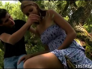 Chick banged in forest