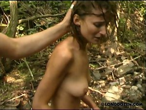 Amy was disciplined rough in the forest creek.