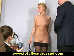 Embarassing bare job interview for shy secretary