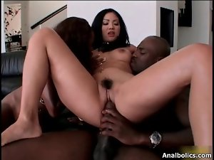 Sensual filthy ebony vixens share a black prick