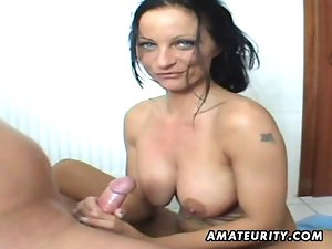 Buxom amateur Filthy bitch licks and rides in her bathroom