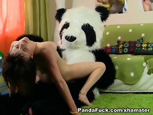 plush panda 18yo dark haired banged