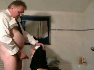 Experienced man having a nun fantasy at a hotel