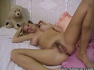 Mary Fox fingering and playing her hirsute snatch with rubber toy
