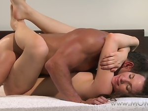 Mama husband and slutty wife make love in the morning