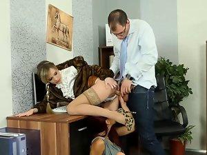 Glamorous euro ladies fuck lad at office