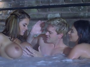First-class crazy threesome action with tempting 19 years old ladies