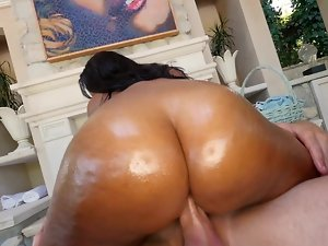 A big titted amateur with a big butt is getting her pussy hammered wild