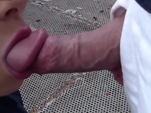 Brunette lady gets nude in public and then she licks and screws