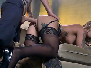 A dark haired that has her attractive lingerie on is getting banged brutal