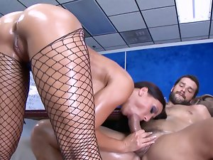 A dude gets a blow job from a lewd wench that is in her stockings
