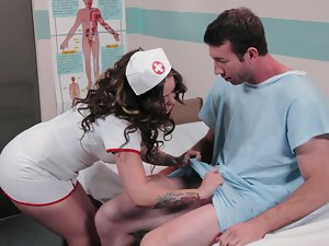 A attractive nurse that has large hooters is getting a phallus up her raw twat