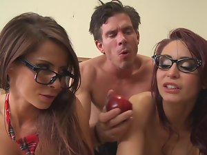 Big titty nymphos and a extremely huge shaft stud banging in the classroom