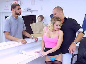 A blond undresses at her job and she gets banged absolutely rough