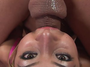 Tempting girl Kat Kiss caresses his phallus and tries to swallow everything