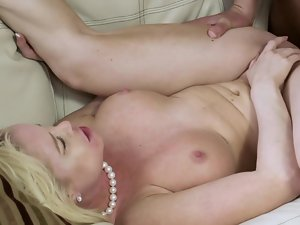 A blondie spreads her legs and then she receives a absolutely large pecker
