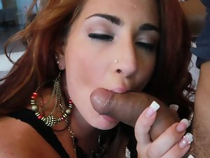 A bimbo that likes semen in her mouth is getting crushed wild