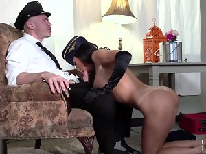 Sensual flight attendant banged horny by the huge shaft lad