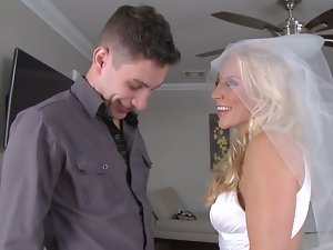 Filthy blond bride with big boobies rides a terrific meat pole