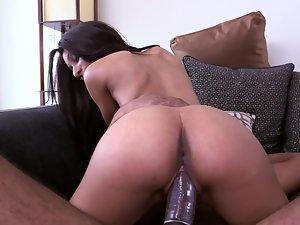 Great filthy brown bunny is ready to ride a huge chocolate pecker
