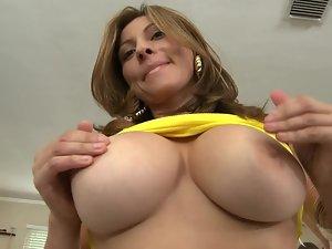 Arousing Latina young woman with big natural boobies riding a pecker