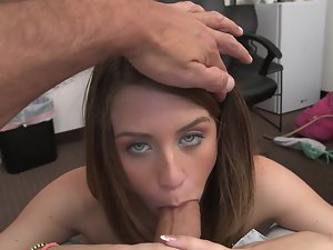 Dark haired with blue eyes loves to lick rough long dicks with her lips