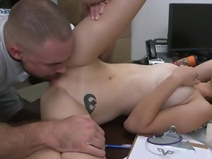 18yo wench with natural knockers gets nude in the storage room