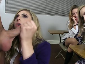 Filthy light-haired schoolgirls are doing an orgy with a sex teacher!