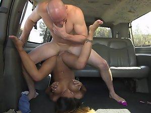 Hairless monster shoves his rod deep inside heavy lady's vagina