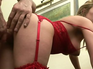 Charming Slutty russian light-haired in red needs a big meat pole right now