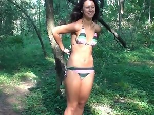 Sensual raven haired college gets her gets dirty ass crushed in the forest
