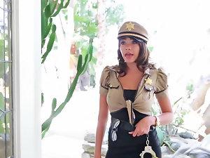Filthy cop reveals the mega big melons under her uniform