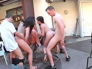 Three filthy nymphos get banged like perfect tarts