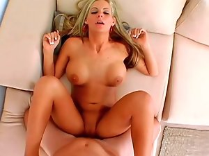 Phoenix Marie riding on huge wiener and performing blowjob